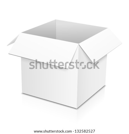 White isolated vector paper box - stock vector