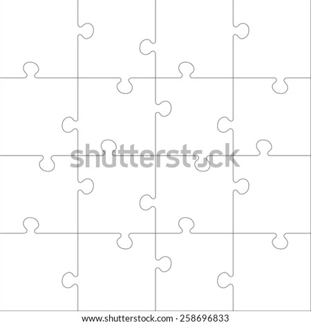White Jigsaw  puzzle. Every piece is a single shape. Seamless puzzle texture. Puzzle template. Cutting guidelines. Eps 8 - stock vector