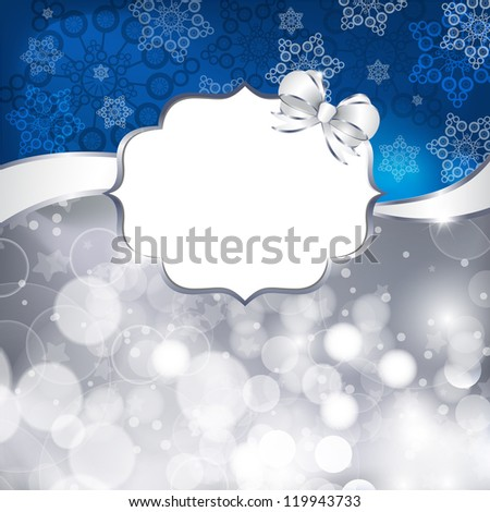 White label  on a shines silver and blue background. Vector illustration - stock vector