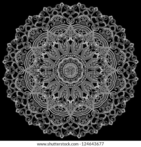 White lace circle on black background. Ornamental round - stock vector