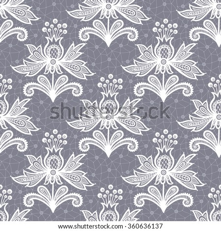 White lace flower isolated on Gray background. Vector illustration, fully editable, vector objects separated and grouped. Editable EPS 10 Vector illustrations. - stock vector