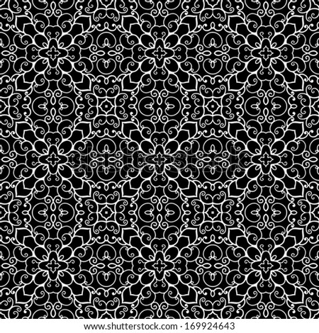 White lace pattern on black, abstract seamless vector ornament - stock vector