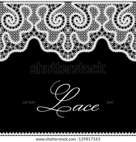 White lace seamless borders on black, realistic vector lace texture, monochrome background - stock vector