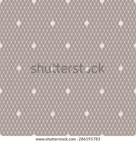 White Lace Seamless Pattern. Beige Background. - stock vector