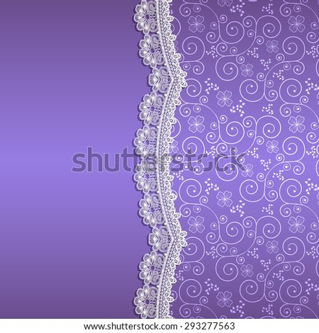 white lace with flowers and shade on a purple background - stock vector