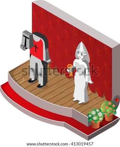 White Lady and headless knight on theater stage. Isometric view. Vector illustration. - stock vector