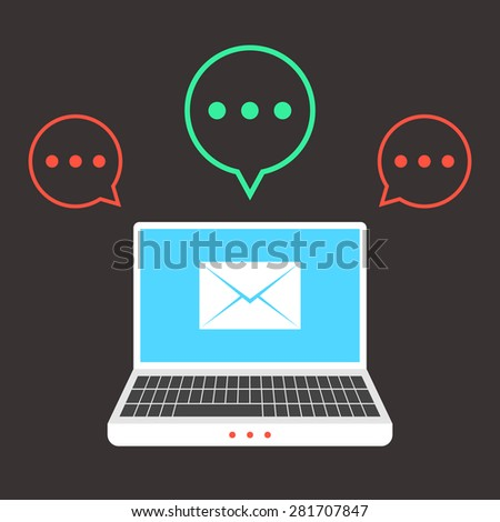 white laptop with colored speech bubbles. concept of delivery, service, newsletter, analysis or checking mail. isolated on brown background. flat style trend modern design vector illustration - stock vector