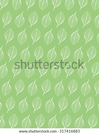 White leaf outline pattern over green color background - stock vector