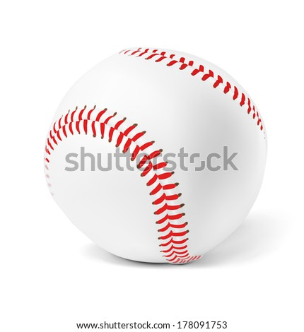 White leather baseball ball with red stitches isolated on a white background. Detailed vector illustration. Realistic. Print quality. - stock vector