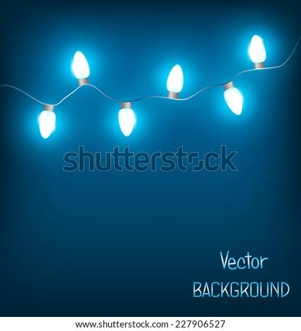 White led Christmas lights garland on blue background - stock vector