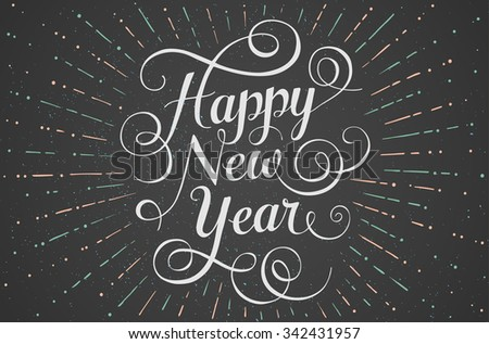 White lettering Happy New Year for greeting card on chalk board background. Vector illustration - stock vector