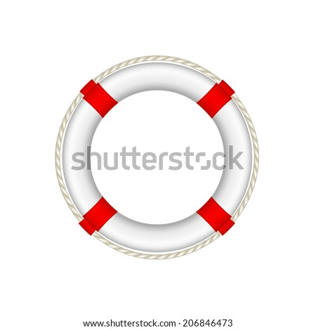 White life buoy with rope around  - stock vector