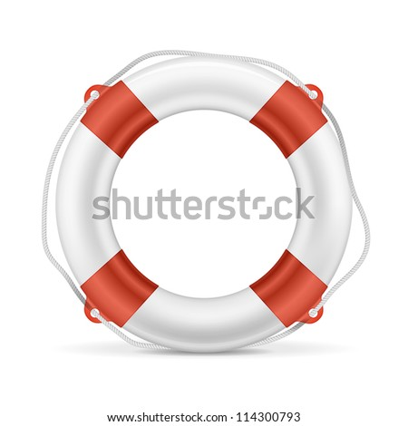 White lifebuoy with red stripes and rope. Isolated Vector illustration - stock vector