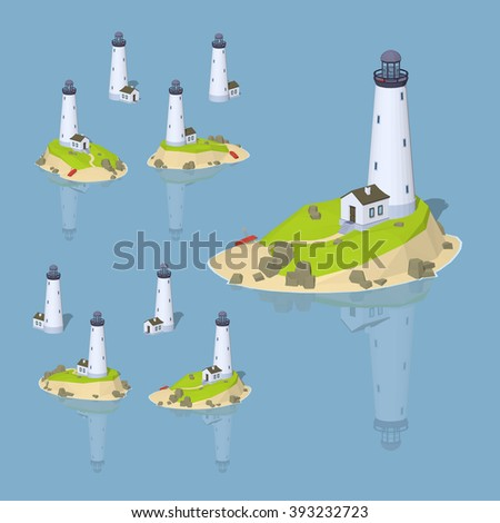 White lighthouse. 3D lowpoly isometric vector illustration. The set of objects isolated against the blue background and shown from different sides - stock vector