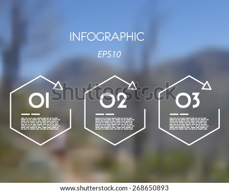white linear infographic hexagons. infographic concept. - stock vector