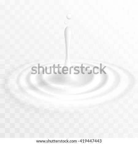 White liquid drop with ripple surface - stock vector