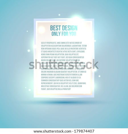 White luxury label with light sparkles - stock vector