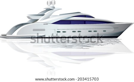 White luxury yacht - stock vector