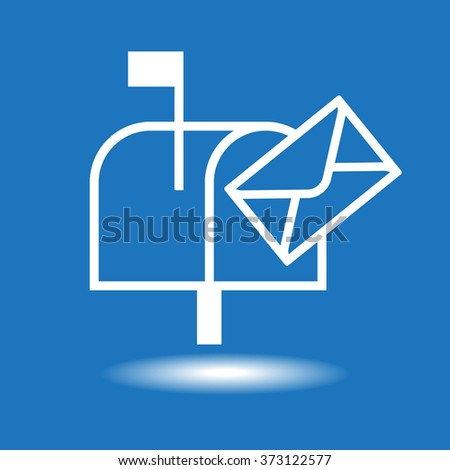White mailbox icon on a blue background. The file is saved in the version 10 EPS. - stock vector