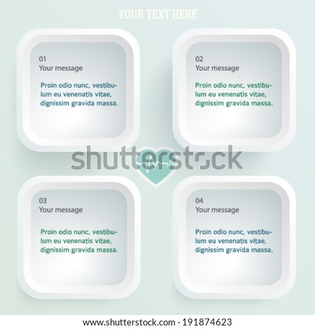 White medical background abstract - concept healthcare or cardiology technology. Vector Illustration EPS 10, Graphic Design elements rounded squares with icons health, cardio, heart - stock vector
