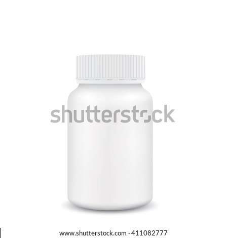 White medical container on white background - stock vector