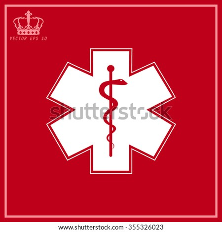 White Medical symbol of the Emergency - Star of Life - icon isolated - stock vector