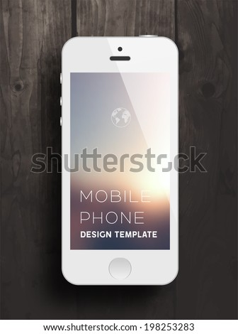 White Mobile Phone with Blurred Background. Vintage Wood Texture. Vector. - stock vector