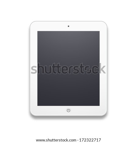 White mobile tablet with black screen, vector illustration - stock vector