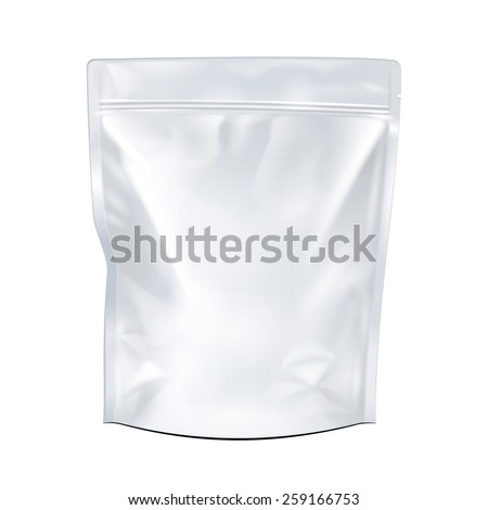 White Mock Up Blank Foil Food Or Drink Doypack Bag Packaging. Plastic Pack Template Ready For Your Design. Vector EPS10 - stock vector