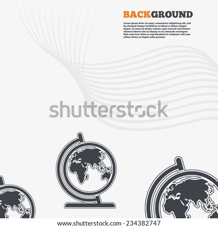 White modern background. Globe sign icon. World map geography symbol. Globe on stand for studying. Outline signs with curved lines. Vector - stock vector
