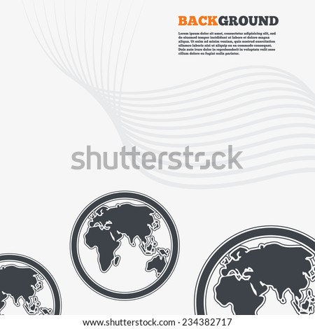 White modern background. Globe sign icon. World map geography symbol. Outline signs with curved lines. Vector - stock vector