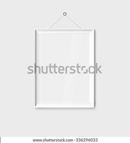 White modern frames on the wall, vector illustration. - stock vector