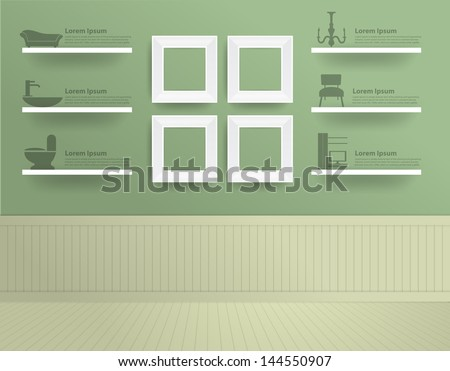 White modern frames on the wall, Vector illustration template design - stock vector