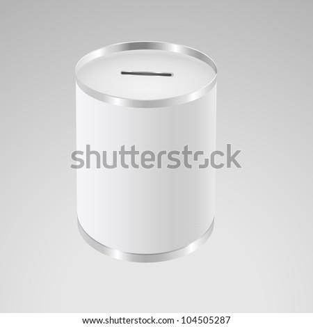 White money box. Donation Box. Aluminum Can - stock vector