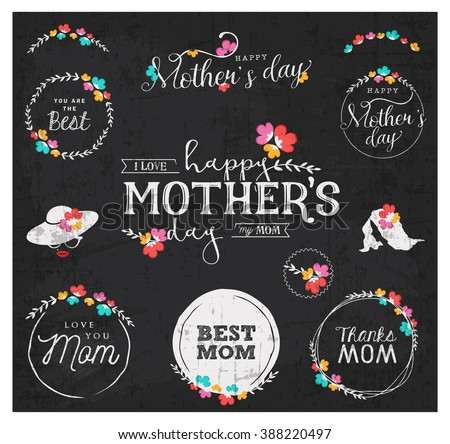 White Mother's Day Badge Designs on Grungy Chalkboard - stock vector