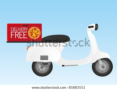 white motorbike with delivery box over blue background. vector - stock vector