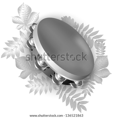 White musical background series. Traditional tambourine, isolated on white background. Vector illustration - stock vector
