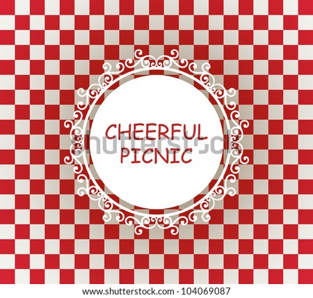 white napkin on red checked tablecloth vector - stock vector