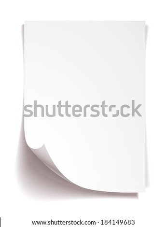 White note paper on white background - stock vector