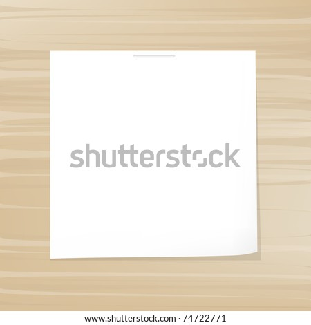 White Note Paper On Wood Background, Vector Illustration - stock vector