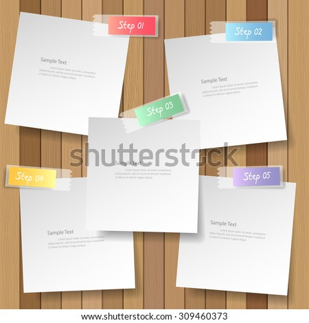 white note papers on plank wood background, vector eps10 - stock vector