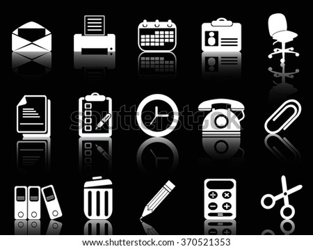 white office and documents icons set - stock vector