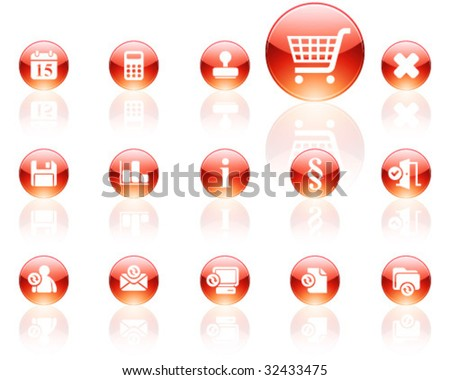 white on red aqua icons | set 13 - stock vector