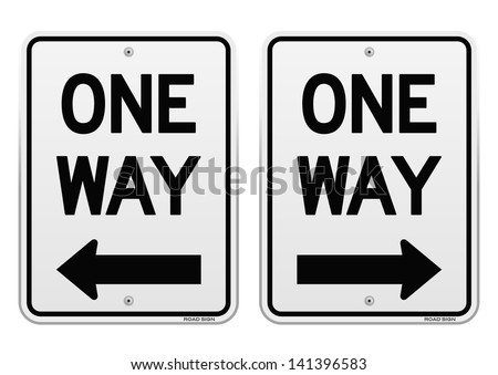 White One Way Signs - stock vector