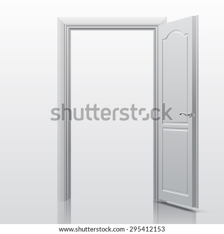 White open door. Vector illustration - stock vector