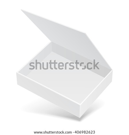 White Open Flying Product Cardboard Package Box With Shadow. Illustration Isolated On White Background. Mock Up Template Ready For Your Design. Vector EPS10 - stock vector
