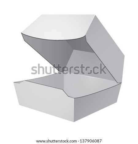 White open food box, packaging for hamburger, lunch - stock vector