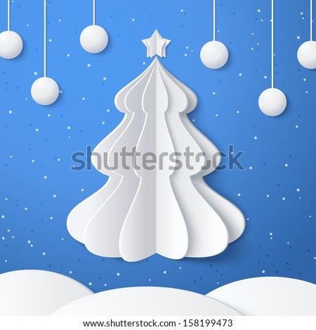 White origami Christmas tree with a star and snow drifts. Design elements for holiday cards. Christmas vector illustration. - stock vector