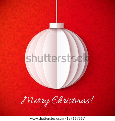 White origami paper vector Christmas ball greeting card template - stock vector