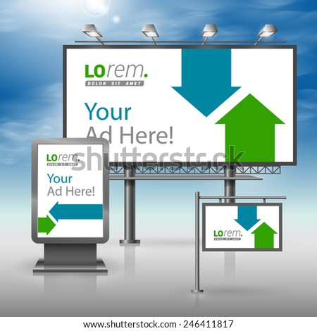 White outdoor advertising design for corporate identity with blue and green arrows. Stationery set - stock vector